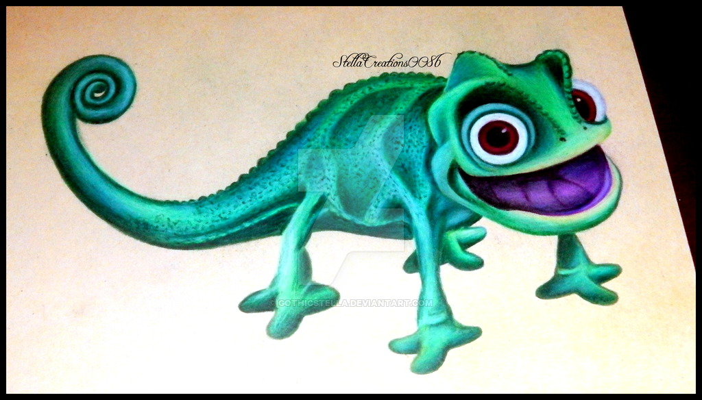 1024x584 Pascal Rapunzel Disney Drawing By Gothicstella