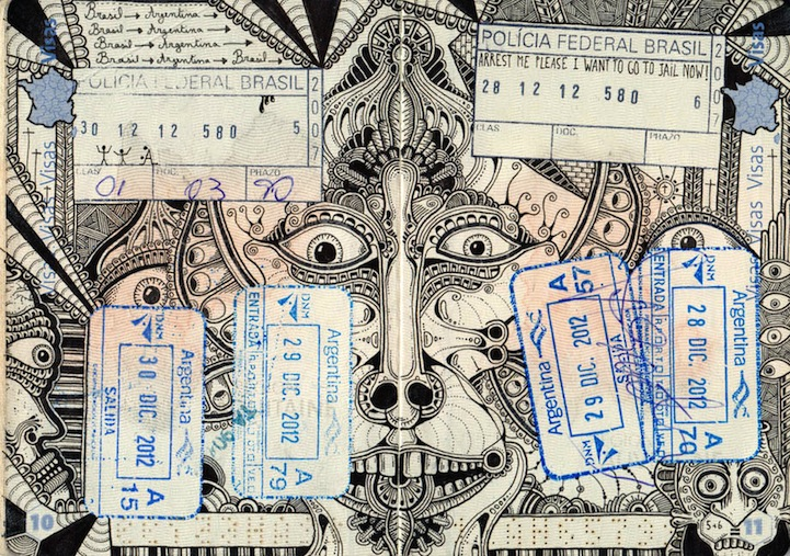 721x507 Artist Tattoos Passport Pages With Elaborate Ink Drawings