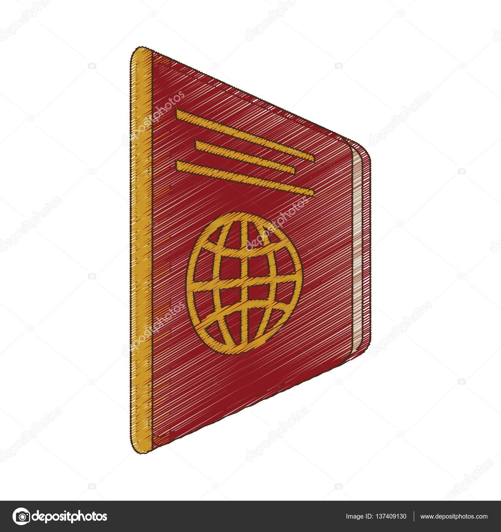 1600x1700 Drawing Passport Identification Tourist Stock Vector Djv