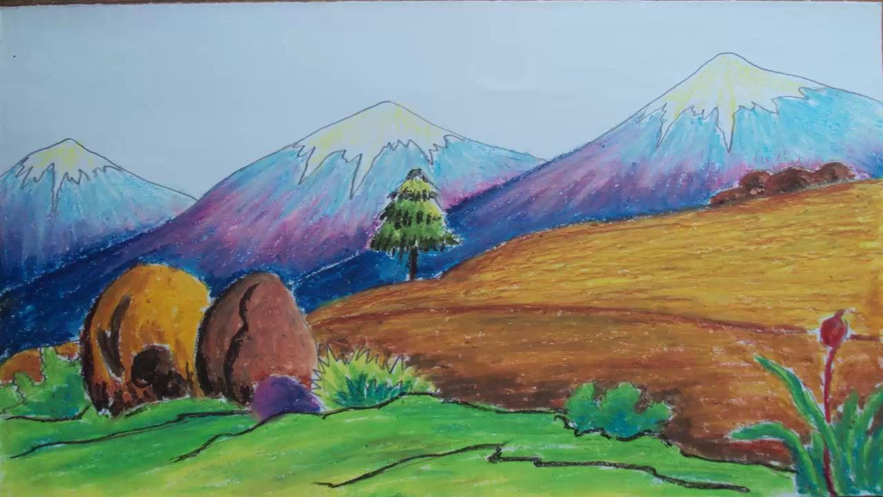 1280x720 How To Draw A Mountain Landscape With Pastel Colors