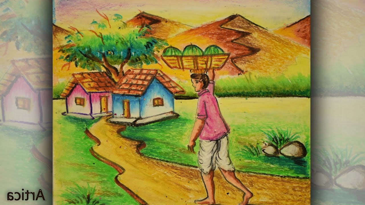 1280x720 Indian Pastel Color Drawing Indian Pastel Color Drawing Oil Pastel