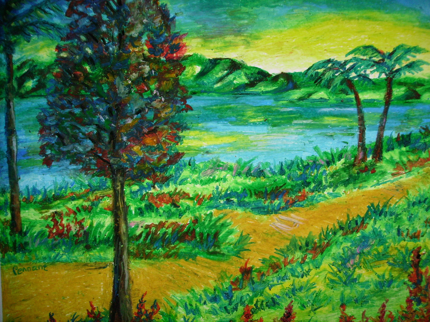 1500x1125 Landscape Color Drawing With Oil Pastels Of Couples Oil Pastel