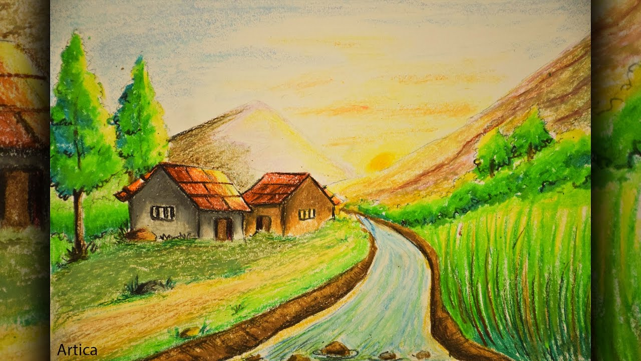 1280x720 Pastel Color Painting Of A Landscape Scenery For Beginner Tutorial