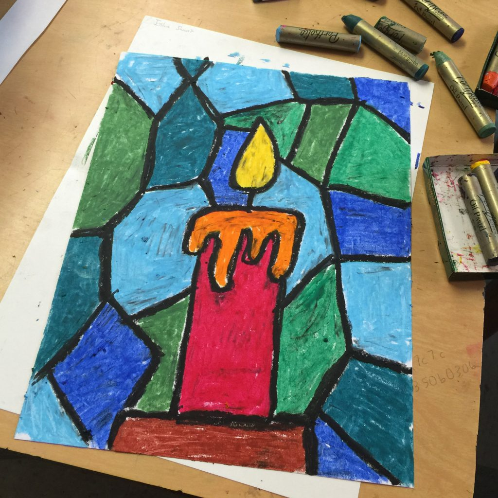 1024x1024 Oil Pastel Candle Drawing