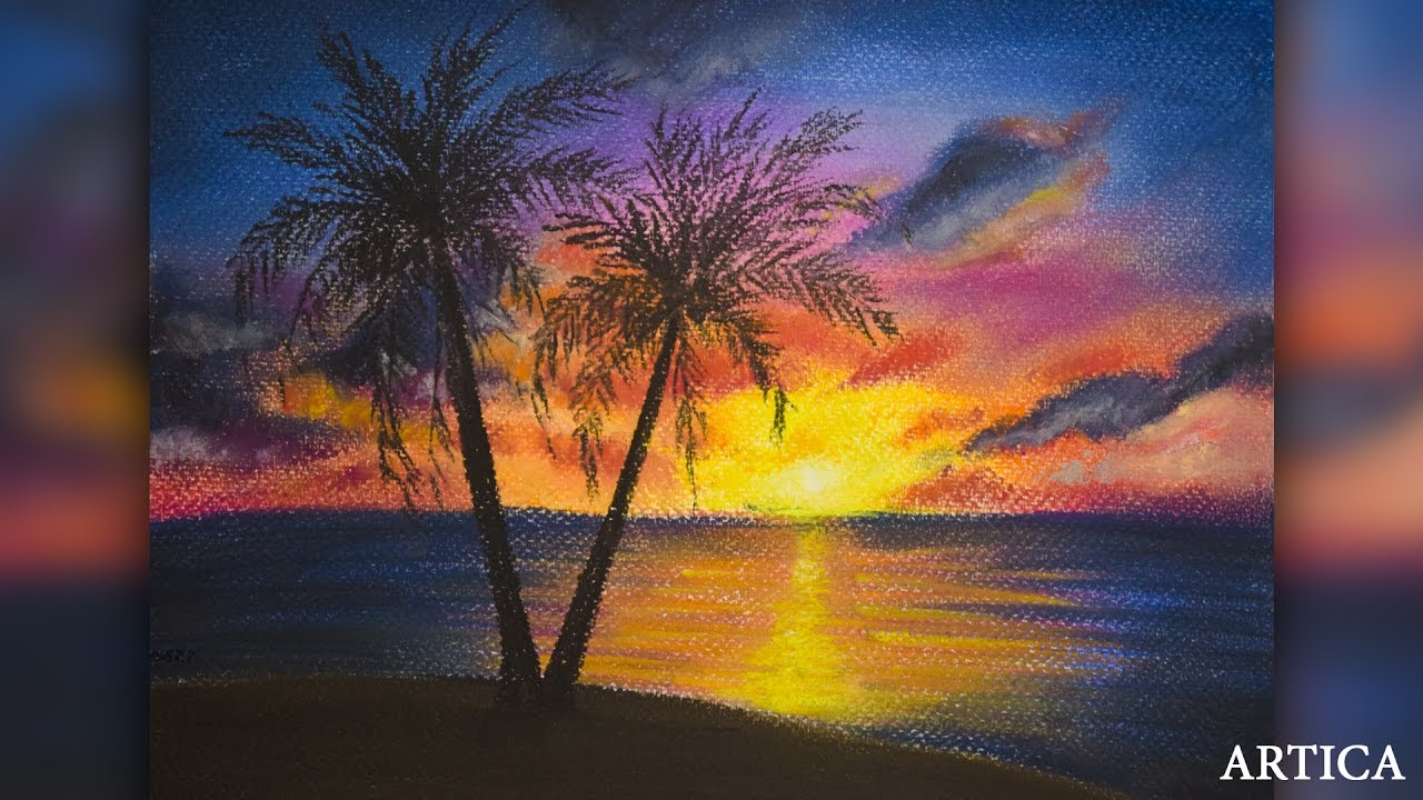 1280x720 How To Draw Sunset Scenery With Soft Pastel Soft Pastel