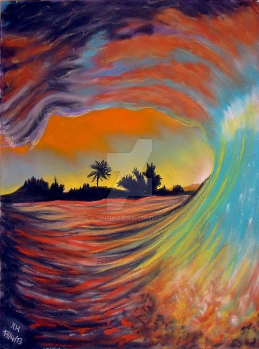 900x1215 Ocean Wave At Sunset By Pastel Lover