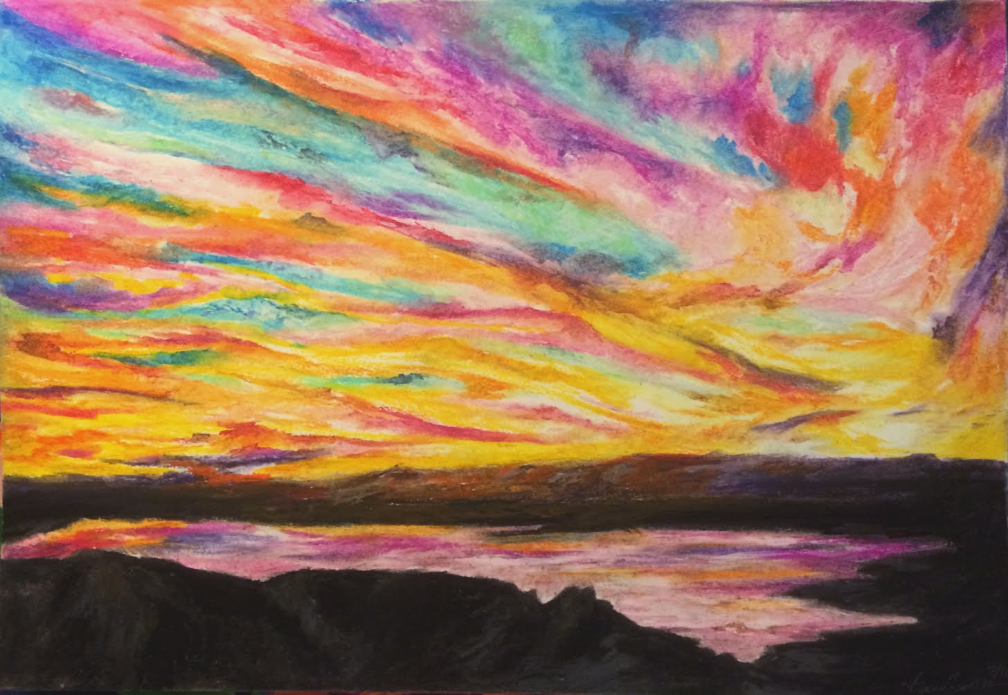 Items similar to sunset . original pastel drawing . 11x14 ... |Pastel Drawings Of Sunsets
