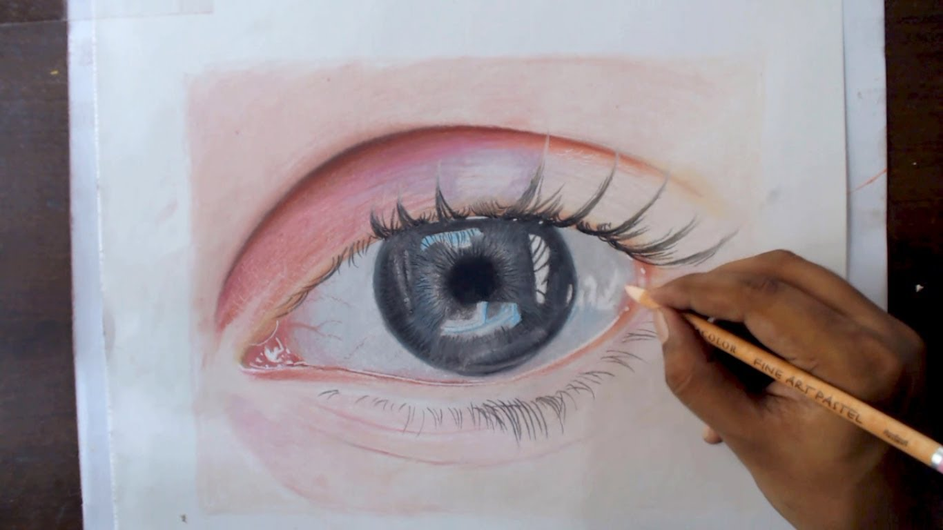 1366x768 Drawing An Eye With Pastel Pencils