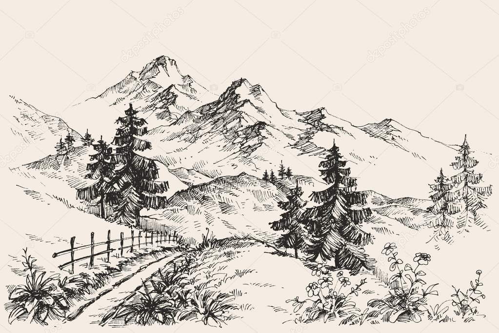 1023x683 A Path In The Mountains Sketch Stock Vector Danussa