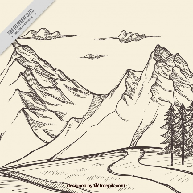 626x626 Sketch Of Mountains With A Path Background Vector Free Download