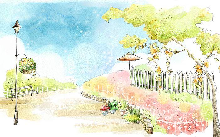 700x438 Art Drawing Romantic Scene Of The Seasons