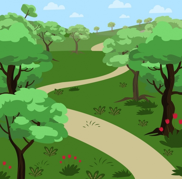 600x591 Natural Landscape Drawing Green Tree Pathway Icons Free Vector