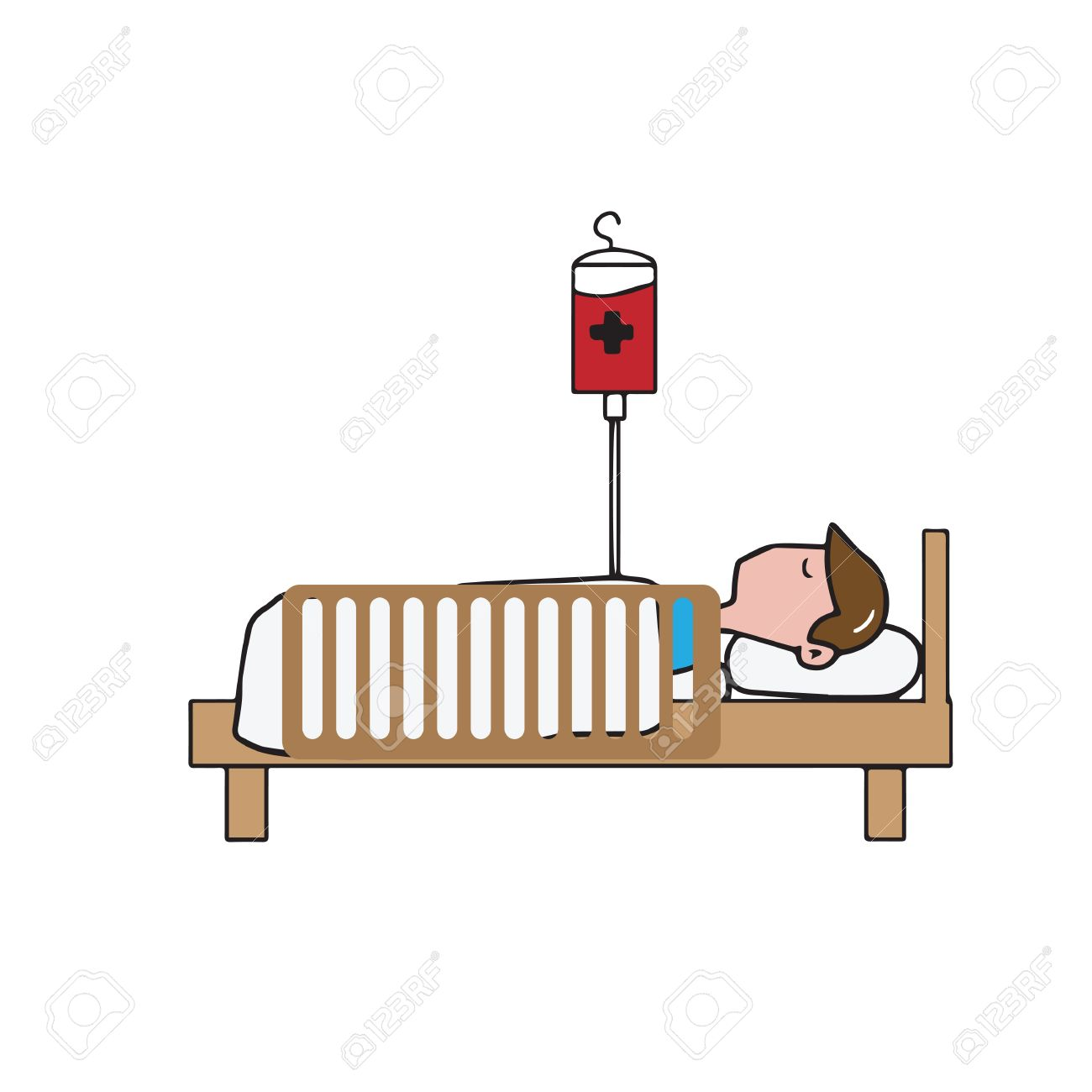 1300x1300 Man Patient On Bed Cartoon Drawing Royalty Free Cliparts, Vectors