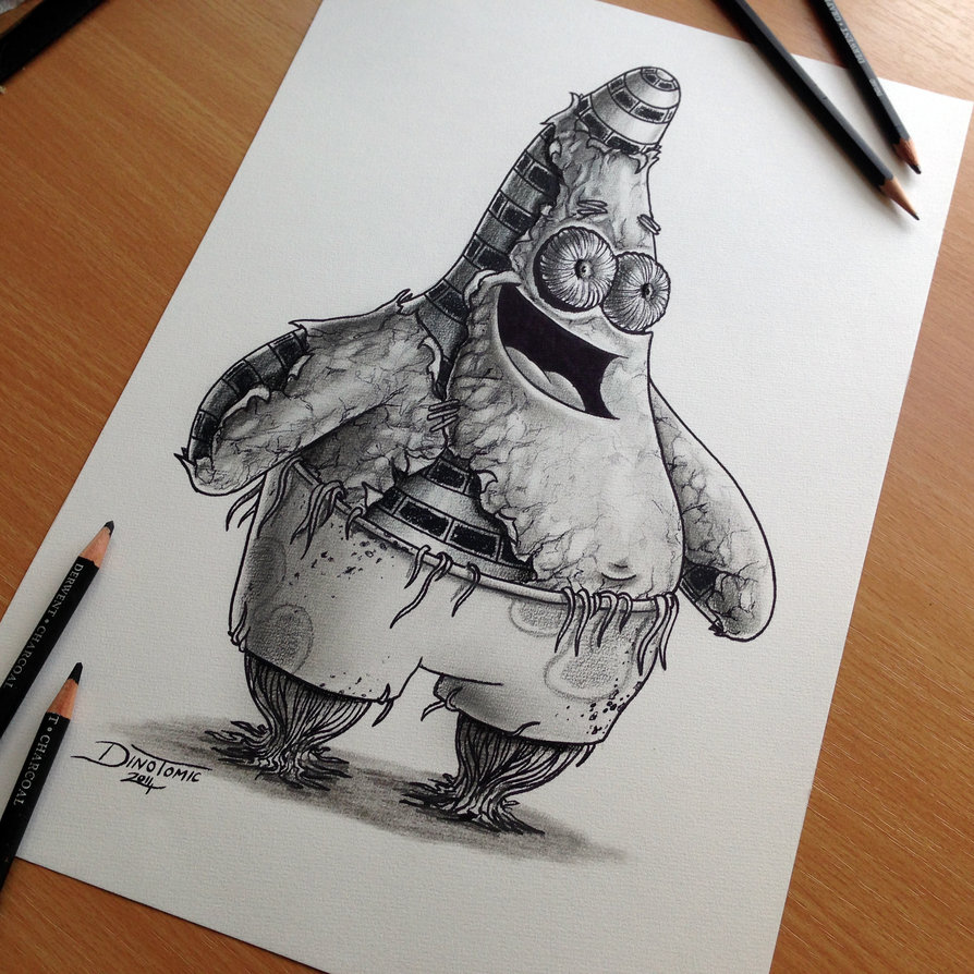 894x894 Patrick Star Pencil Drawing By Atomiccircus