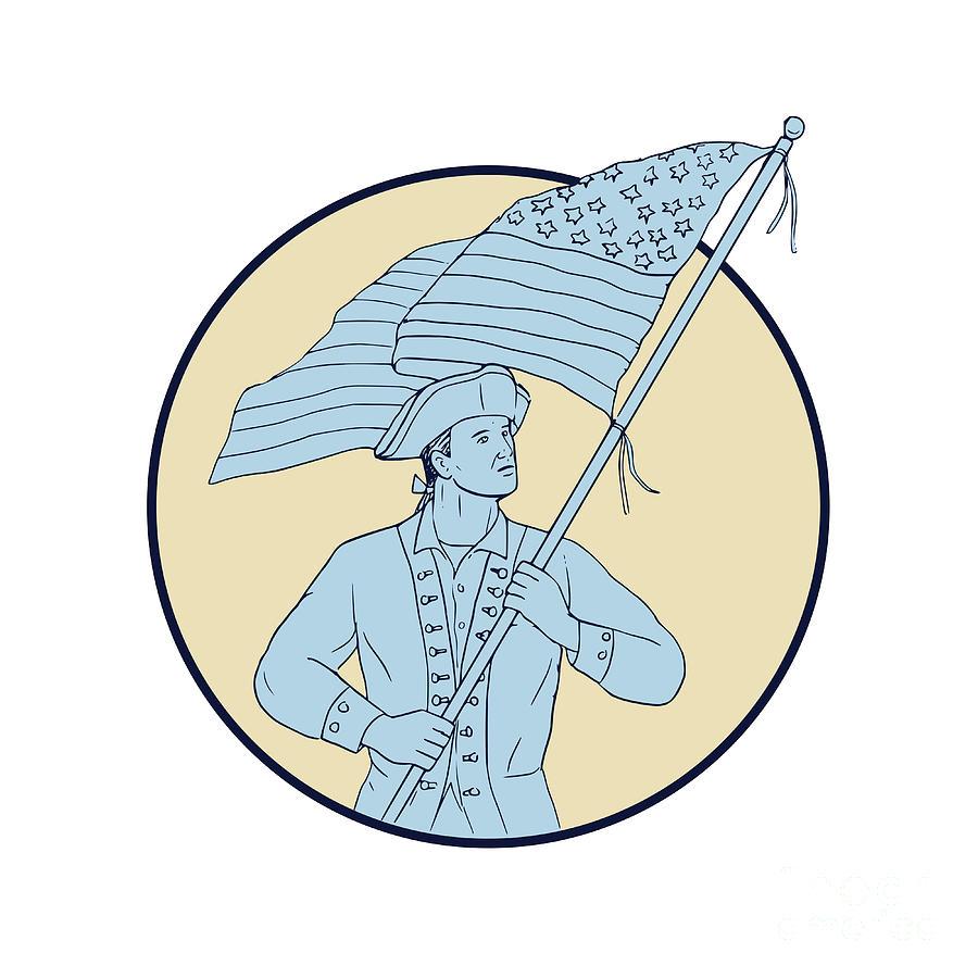 900x900 American Patriot Waving Usa Flag Circle Drawing Digital Art By