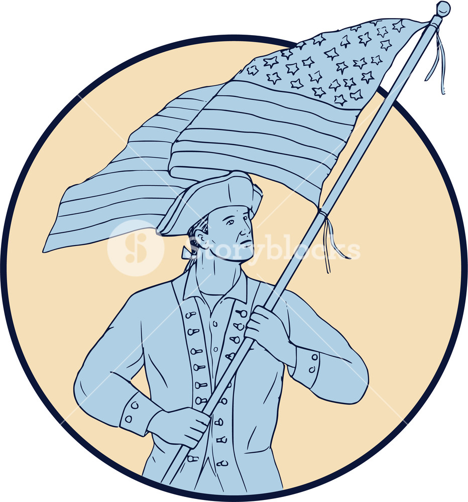 932x1000 Drawing Sketch Style Illustration Of An American Patriot Carrying