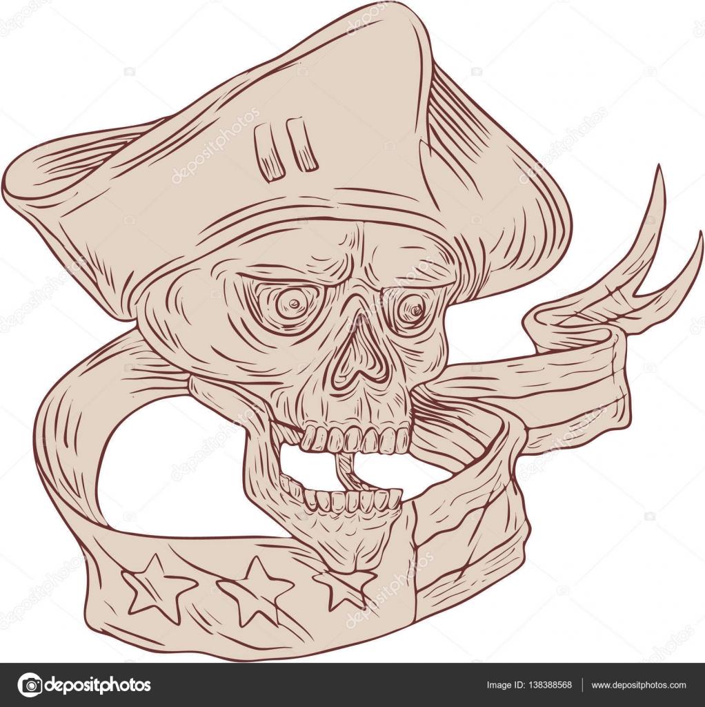 1022x1024 Skull Patriot Ribbon Flag Drawing Stock Vector Patrimonio