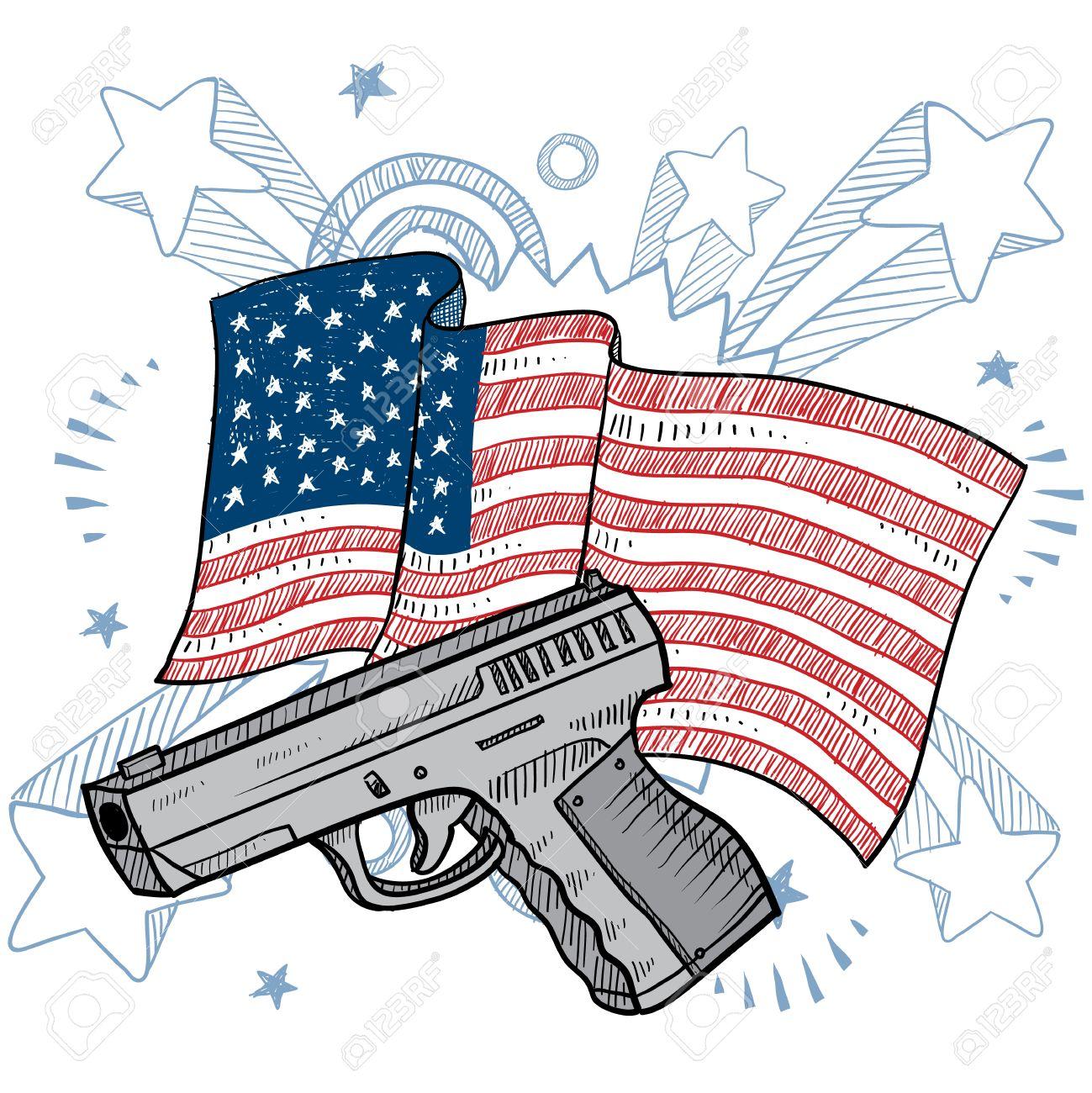 1299x1300 Doodle Style Second Amendment Handgun Or Pistol Color Illustration
