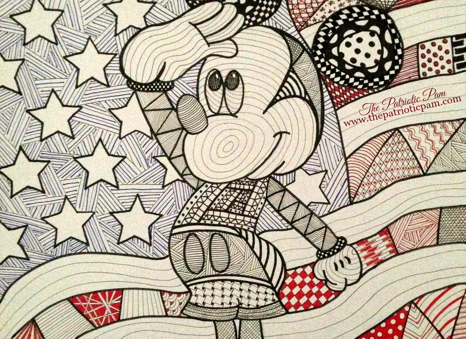 1600x1165 The Patriotic Pam Zentangle Mickey Mouse