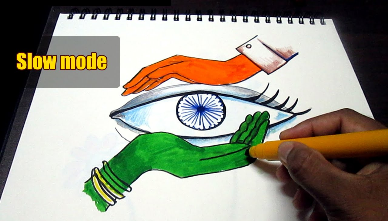 1280x728 Creative Drawing (Happy Independence Day) For Kids Slow Mode