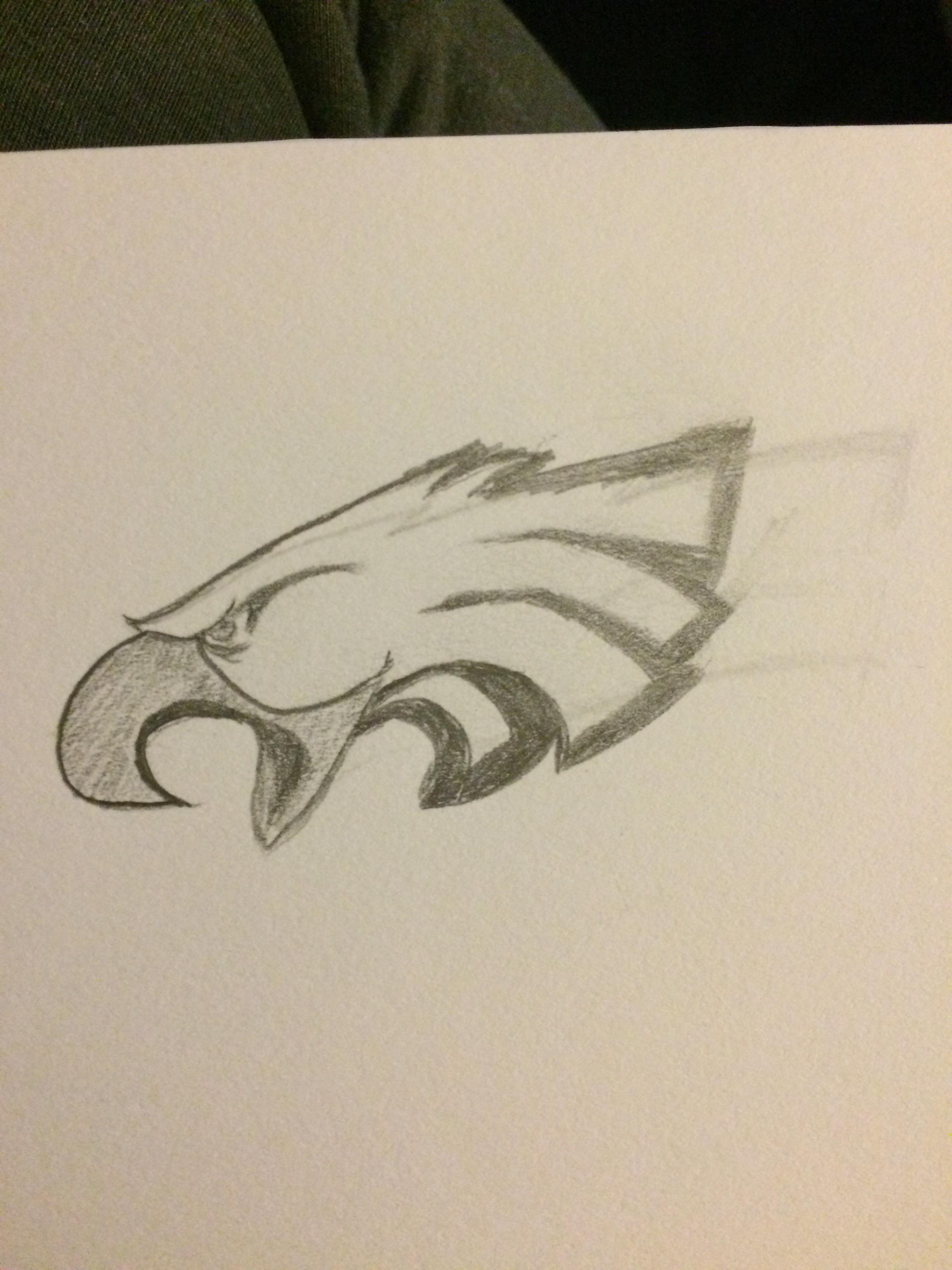 2448x3264 Day Two An Eagles Logo Drawn By A Patriots Fan (My Pats Logo Didn