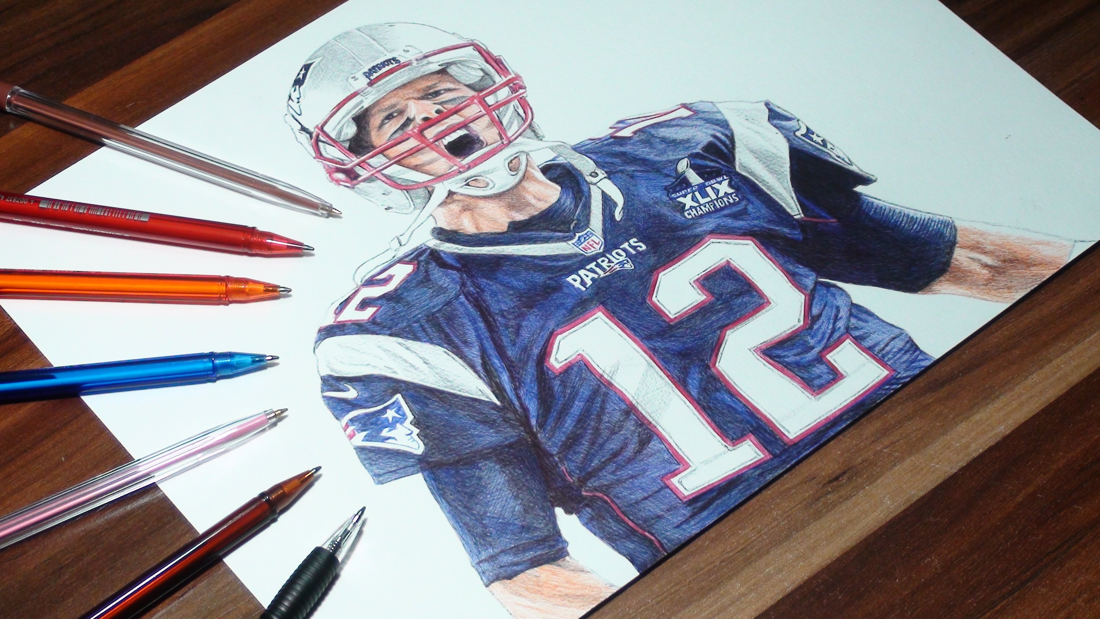 3680x2070 Tom Brady Pen Drawing