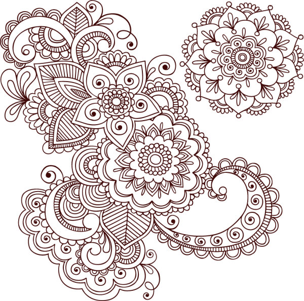 600x594 4 Designer Hand Painted Pattern Vector Material 01 Vector