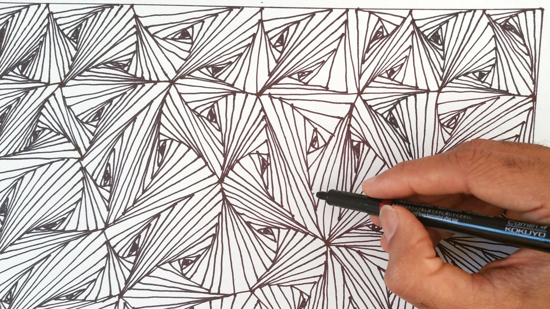 1822x1025 How To Draw Easy Line Optical Illusions Pattern