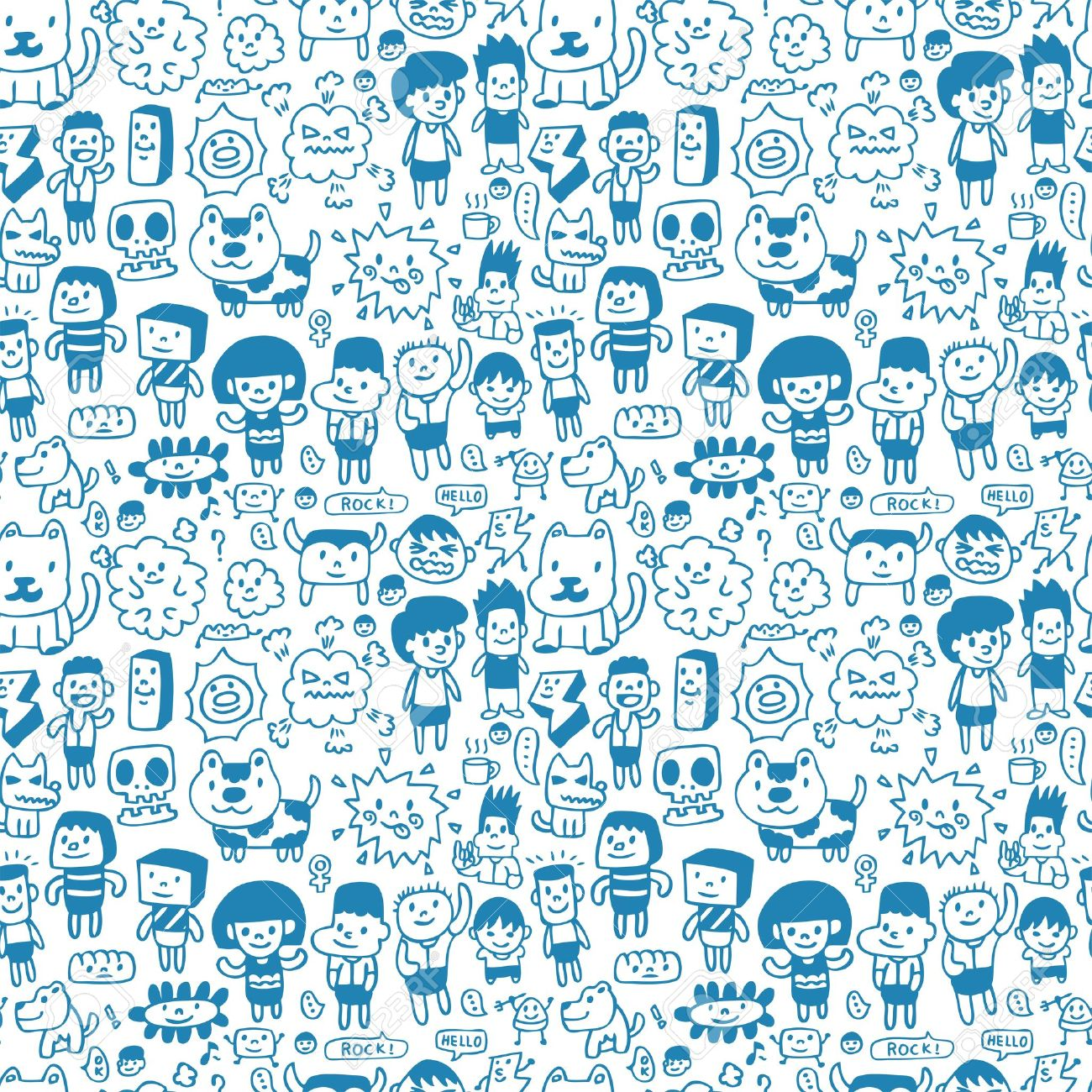 1300x1300 12816563 Seamless Cartoon Pattern Stock Vector Kid Faces Drawing