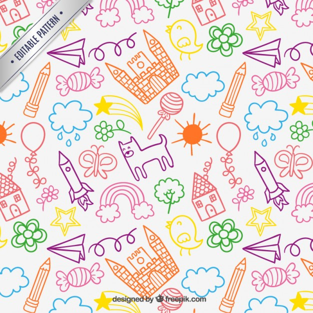 626x626 Children Drawings Pattern Vector Free Download