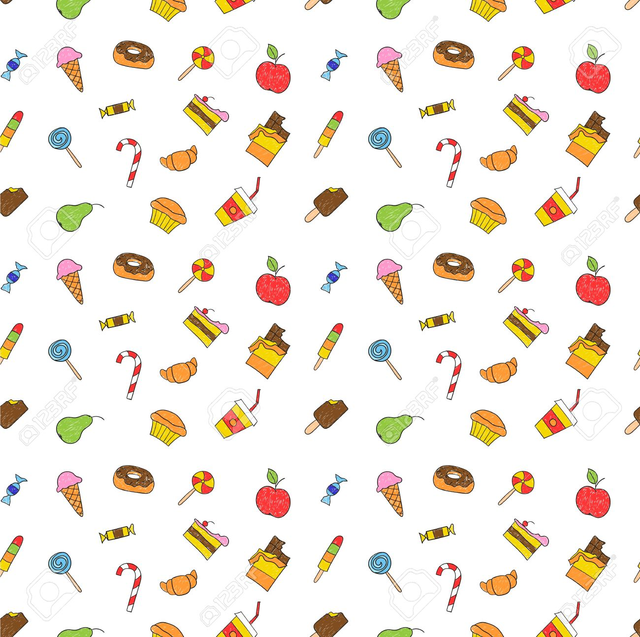 1300x1294 Kids Hand Drawing Tasty Food. Cartoon Sketch Pattern Of Child