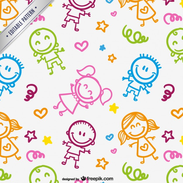 626x626 Kids Drawings Pattern Vector Free Download