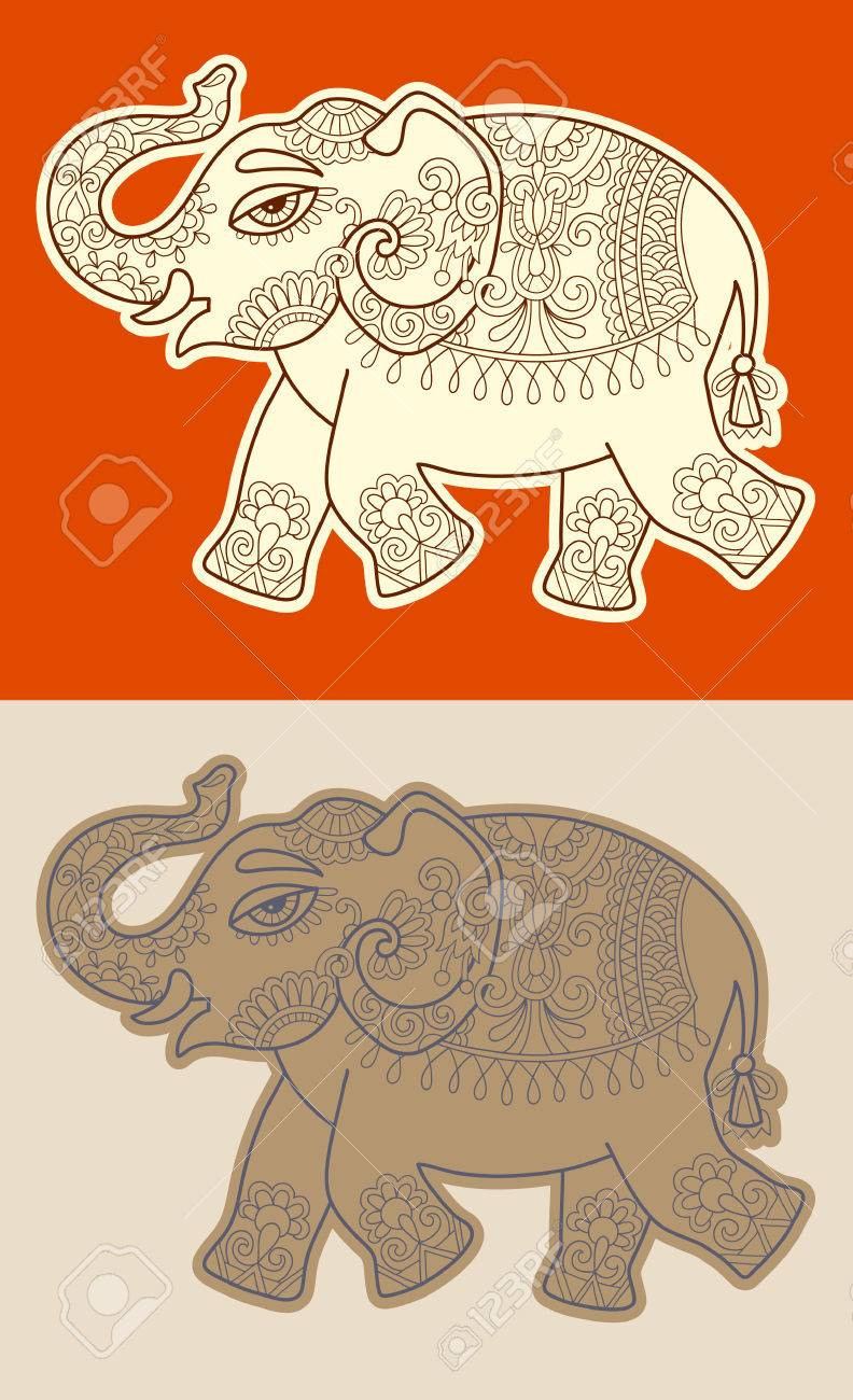 792x1300 Original Stylized Ethnic Indian Elephant Pattern Drawing, Vector
