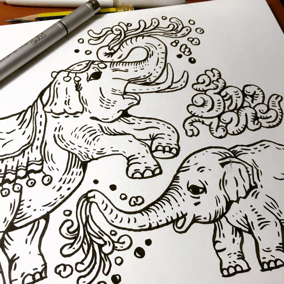 960x960 Thai Elephant Family Pattern Design Nokhookdesign
