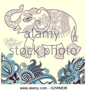 300x320 Original Stylized Ethnic Indian Elephant Pattern Drawing Stock