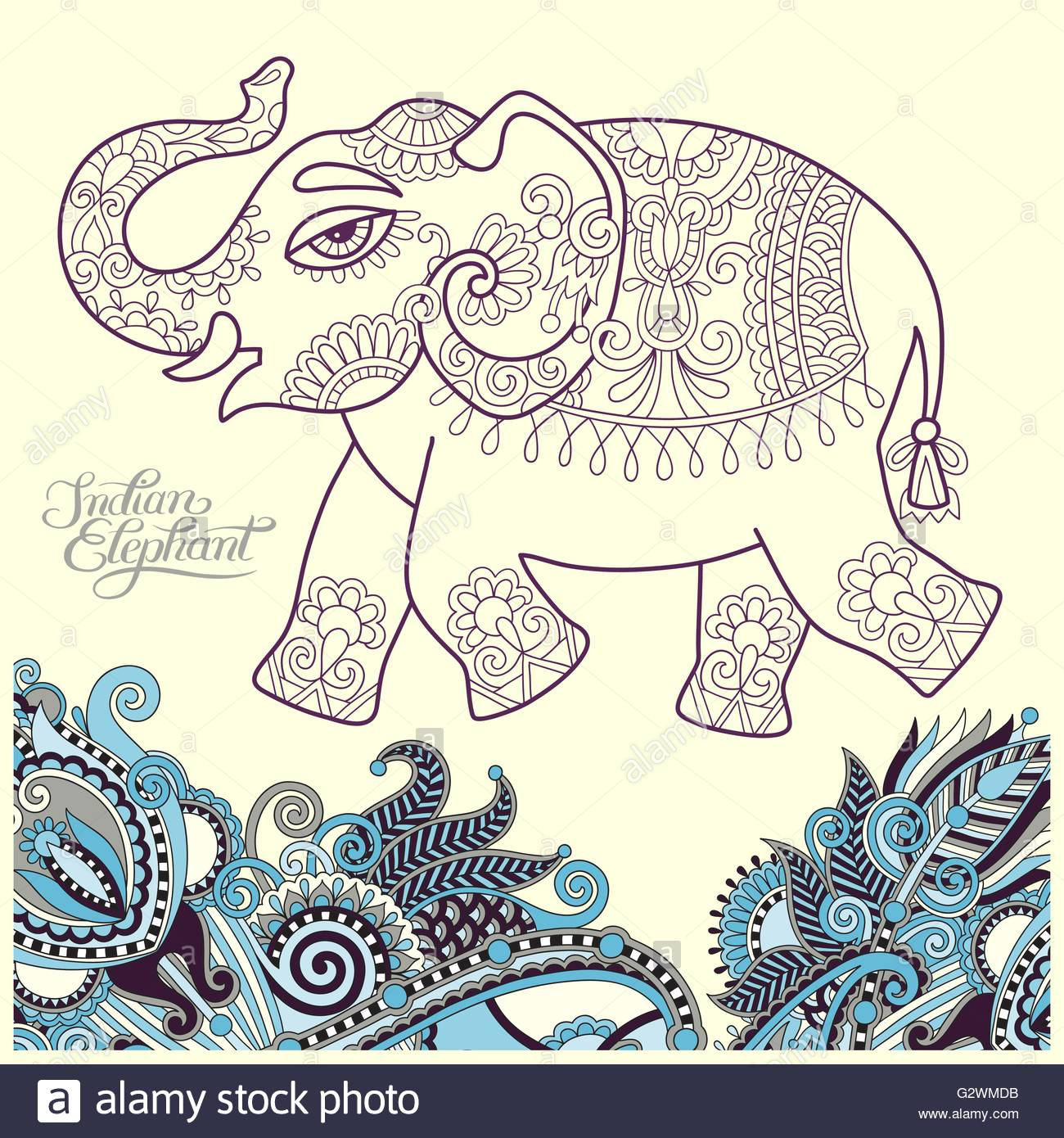 1300x1390 Original Stylized Ethnic Indian Elephant Pattern Drawing And Han