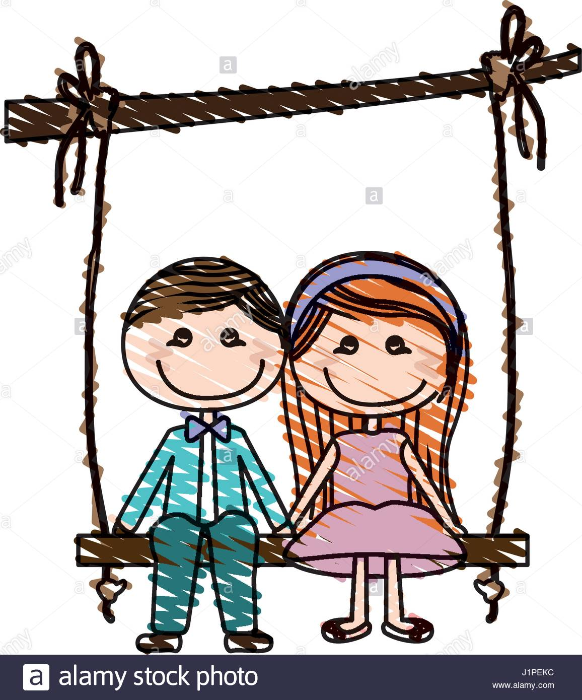 1156x1390 Color Pencil Drawing Of Caricature Couple Sit In Swing Hanging