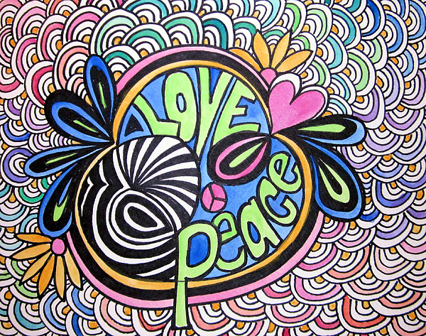 600x473 Love And Peace Drawing By Jo Claire Hall