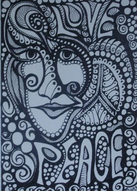453x631 Love Peace Drawing By Gerri Rowan