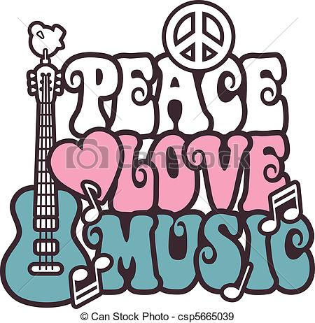 450x462 Peace Love Music Pink Blue. Retro Style Illustration Of A Eps