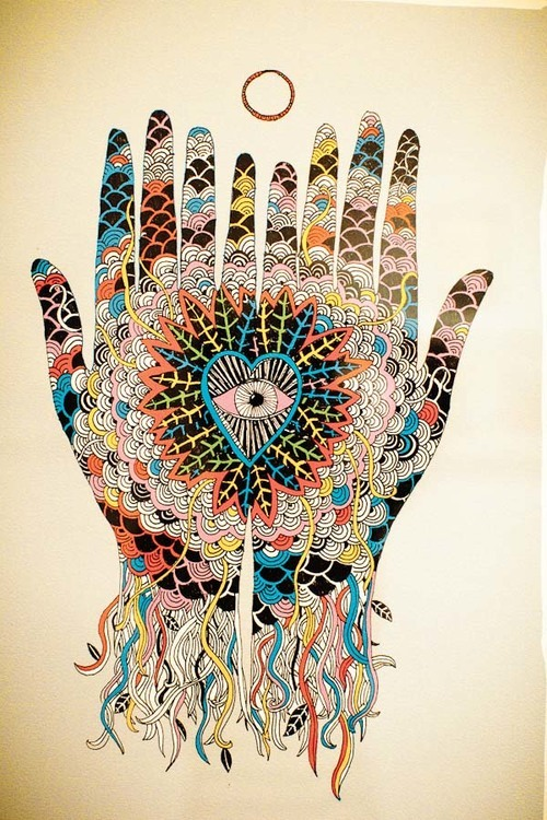 500x750 Love Drawing Art Trippy Happy Painting Hands Eye Psychedelic Heart