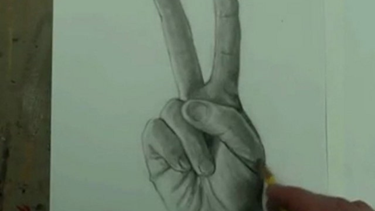 1280x720 Draw The Hand (Peace Sign) Step By Step