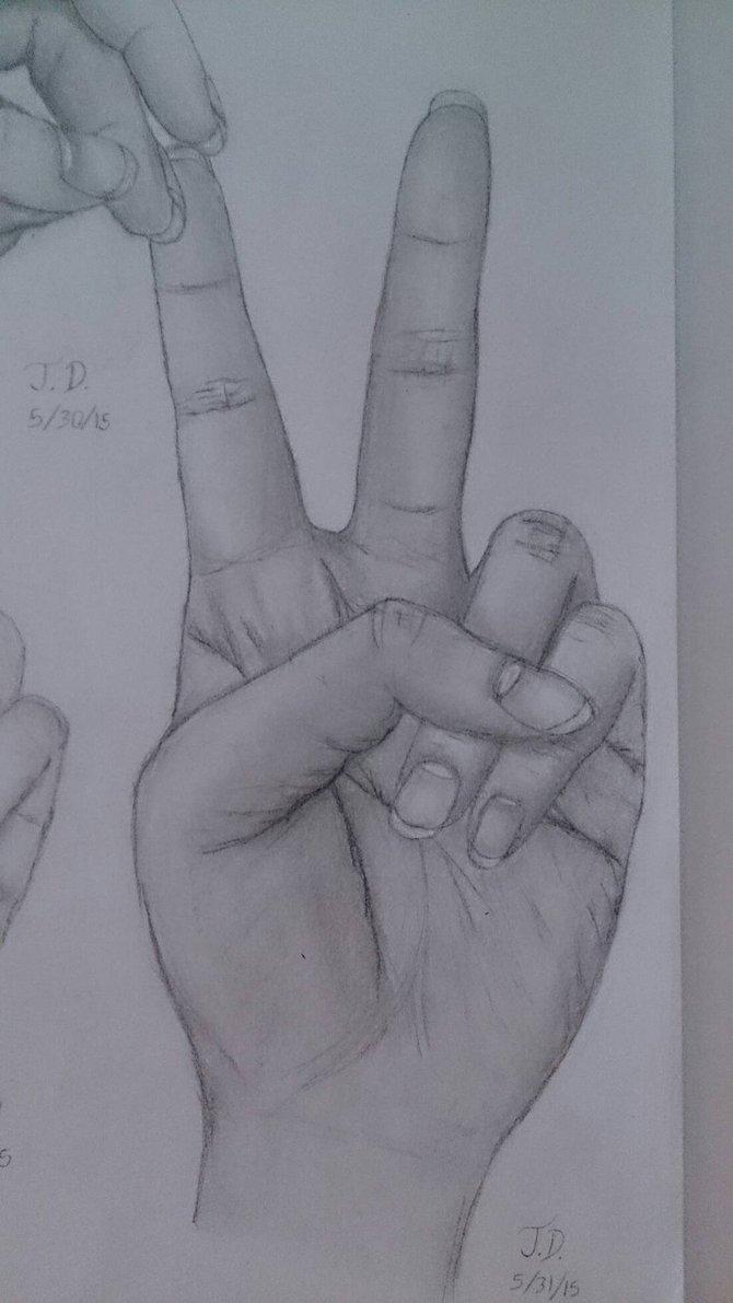 670x1191 Peace Hand Pose Drawing By Kawaiimidnight