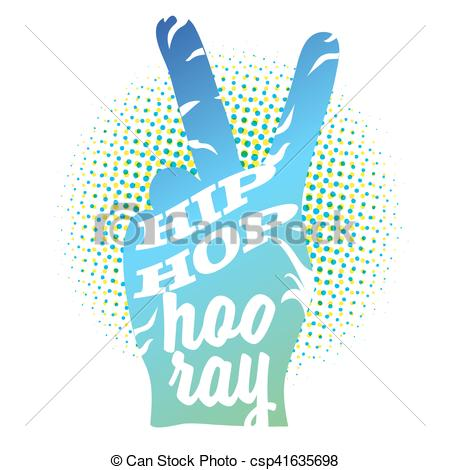 450x470 Hip Hop Hooray On Peace Hand Sign, Colored Vector Outline Eps