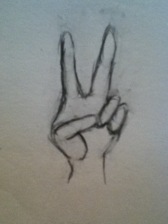 640x853 How To Draw Hands Peace