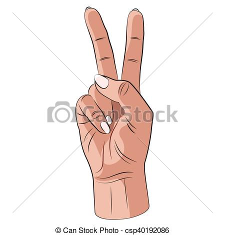 450x470 Peace Hand Gesture Vector. Realistic Human Hand On A White