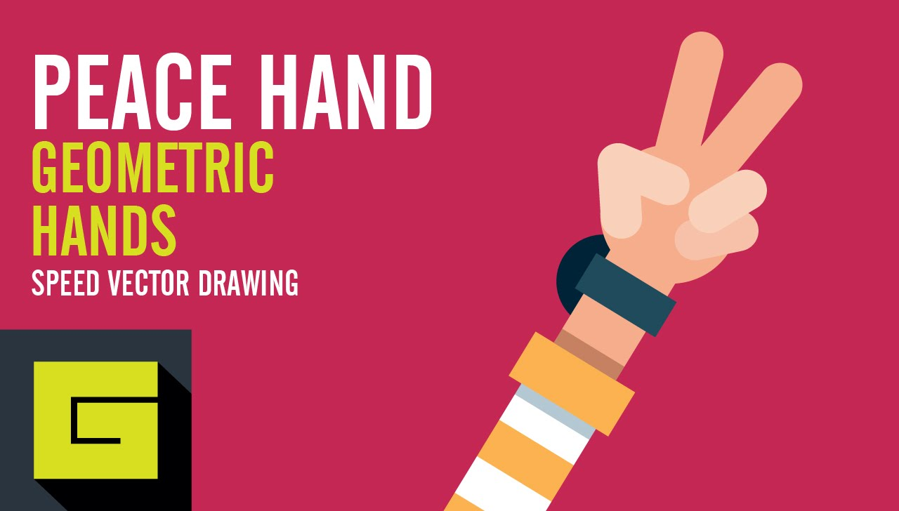 1280x728 Speed Drawing, How To Draw Flat Hand, Peace Hand, Adobe
