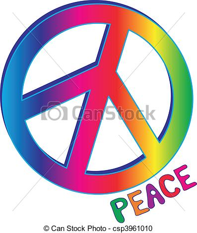 397x470 Peace Sign And Peace Text. Hand Drawn Peace Text In Rainbow