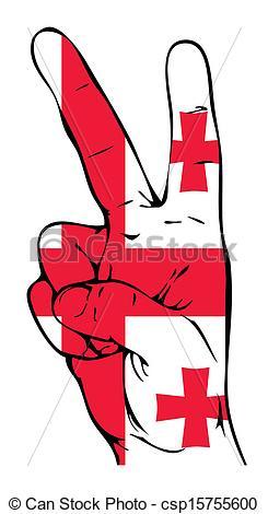 245x470 Peace Sign Of The Georgian Flag Vector Clipart