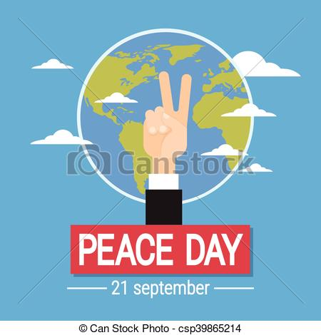 450x470 Business Hand Peace Sign World International Holiday Poster
